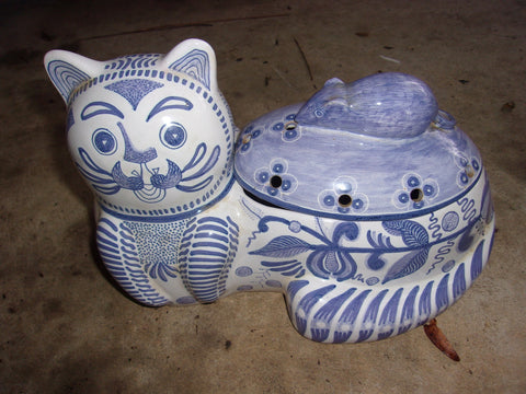 Cat cookie jar blue white 21145
