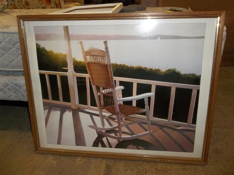 Print, lake, wicker rocking chair 10638