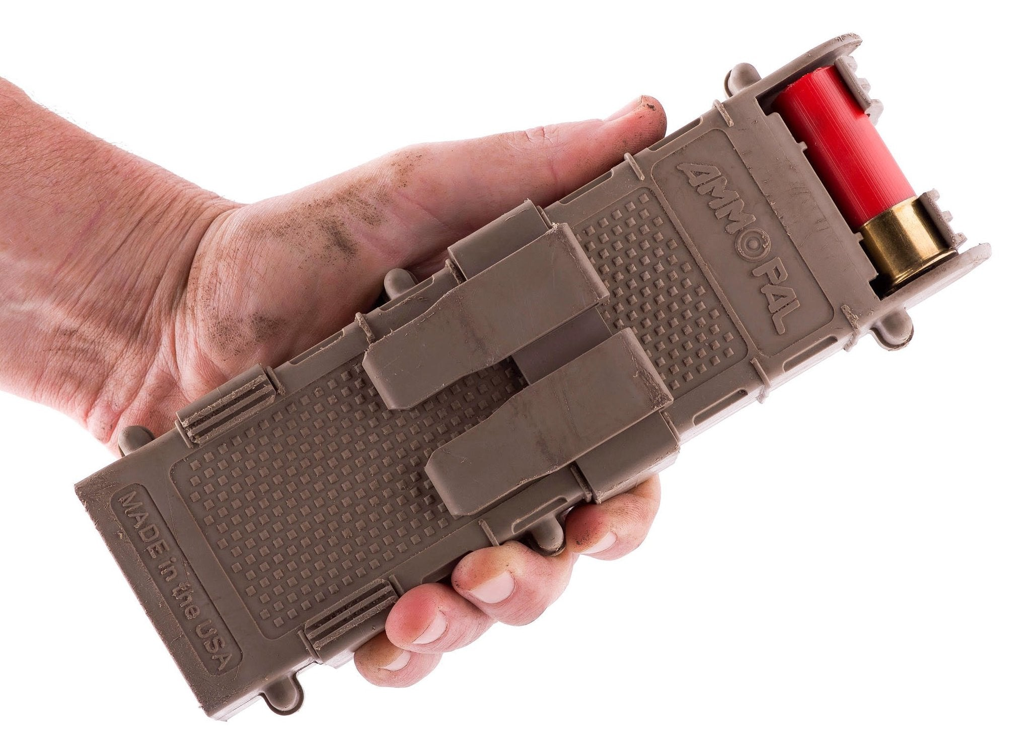 Hand holding Ammopal shotgun shell dispenser