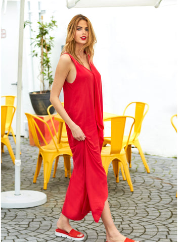 European Street Style Red V-Neck Maxi Dress