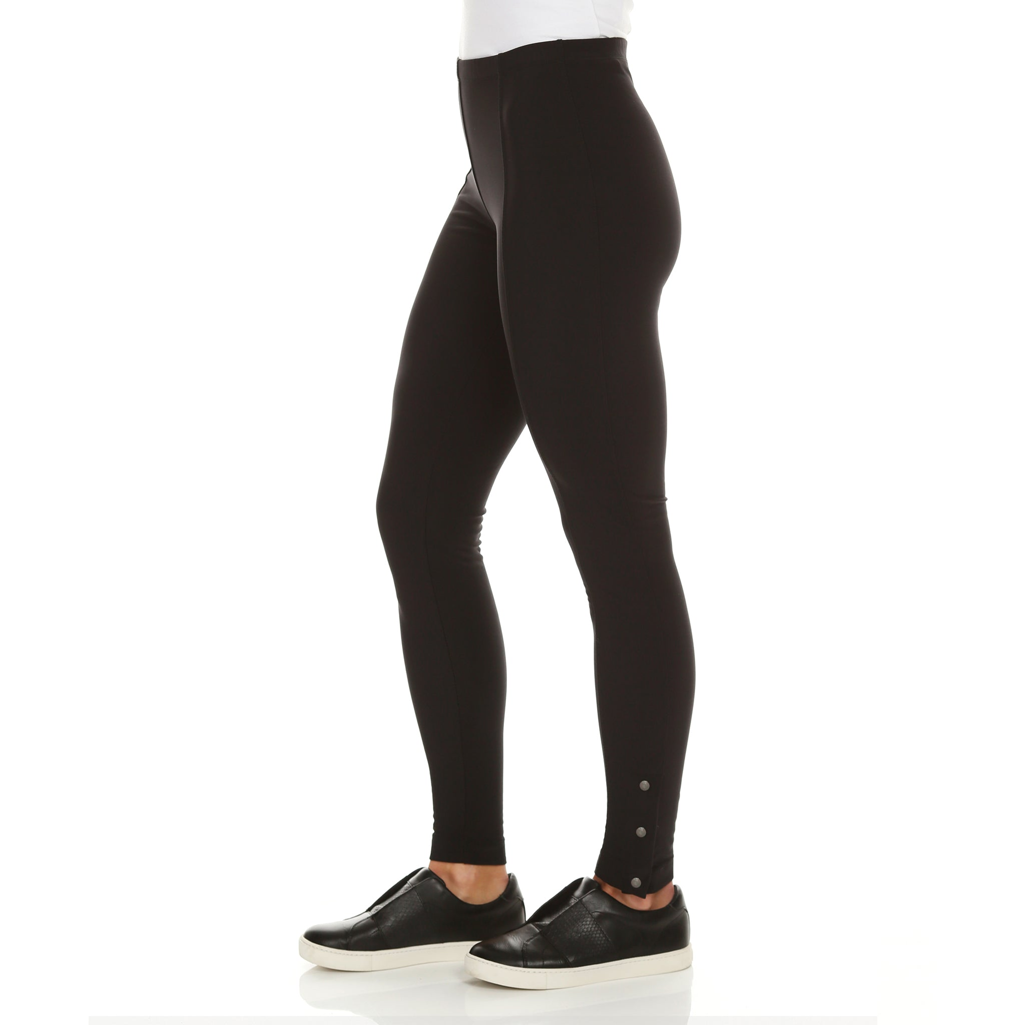 Aida Fleece-Lined Leggings with 3-Button Snaps at Ankle