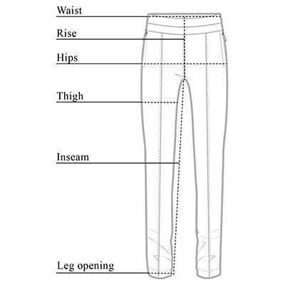 Allie Hybrid Travel Pant Size Chart