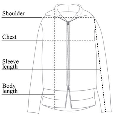 Cindy Hooded Sweater Jacket Size Chart