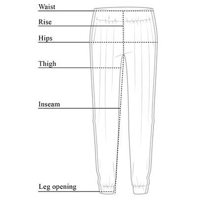Daniella Jogger Strip Travel Pant Size Chart