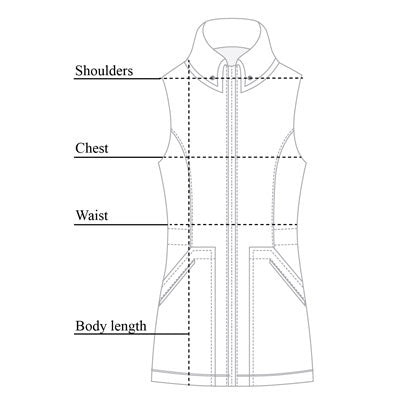 Delaney Travel Vest Size Chart