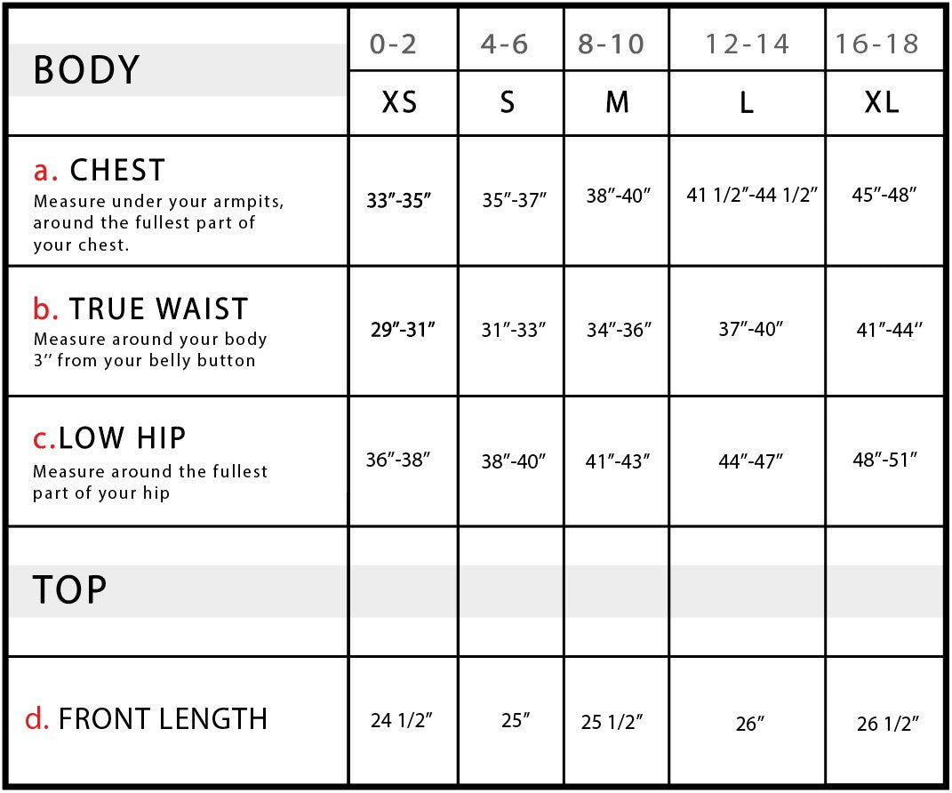 Helen Perforated Leather Vest Size Chart