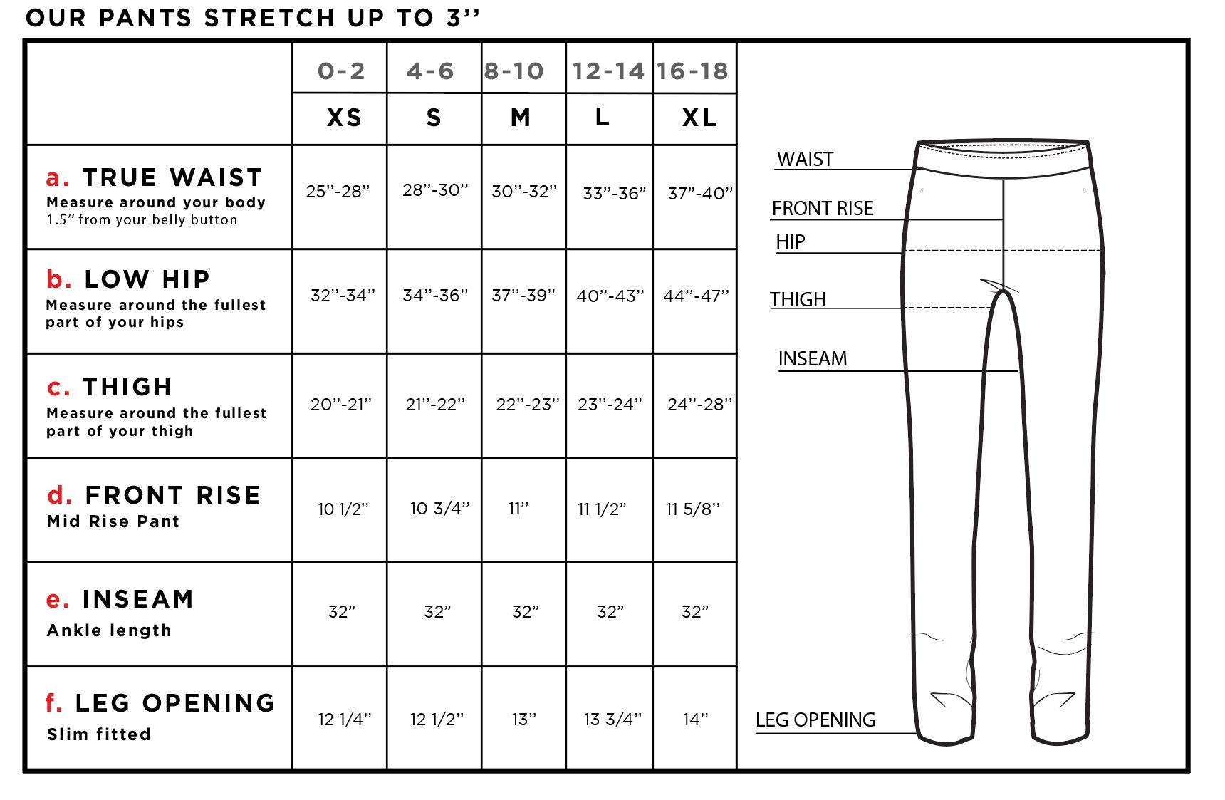 Jamie Lee Pull-on Pant Size Chart