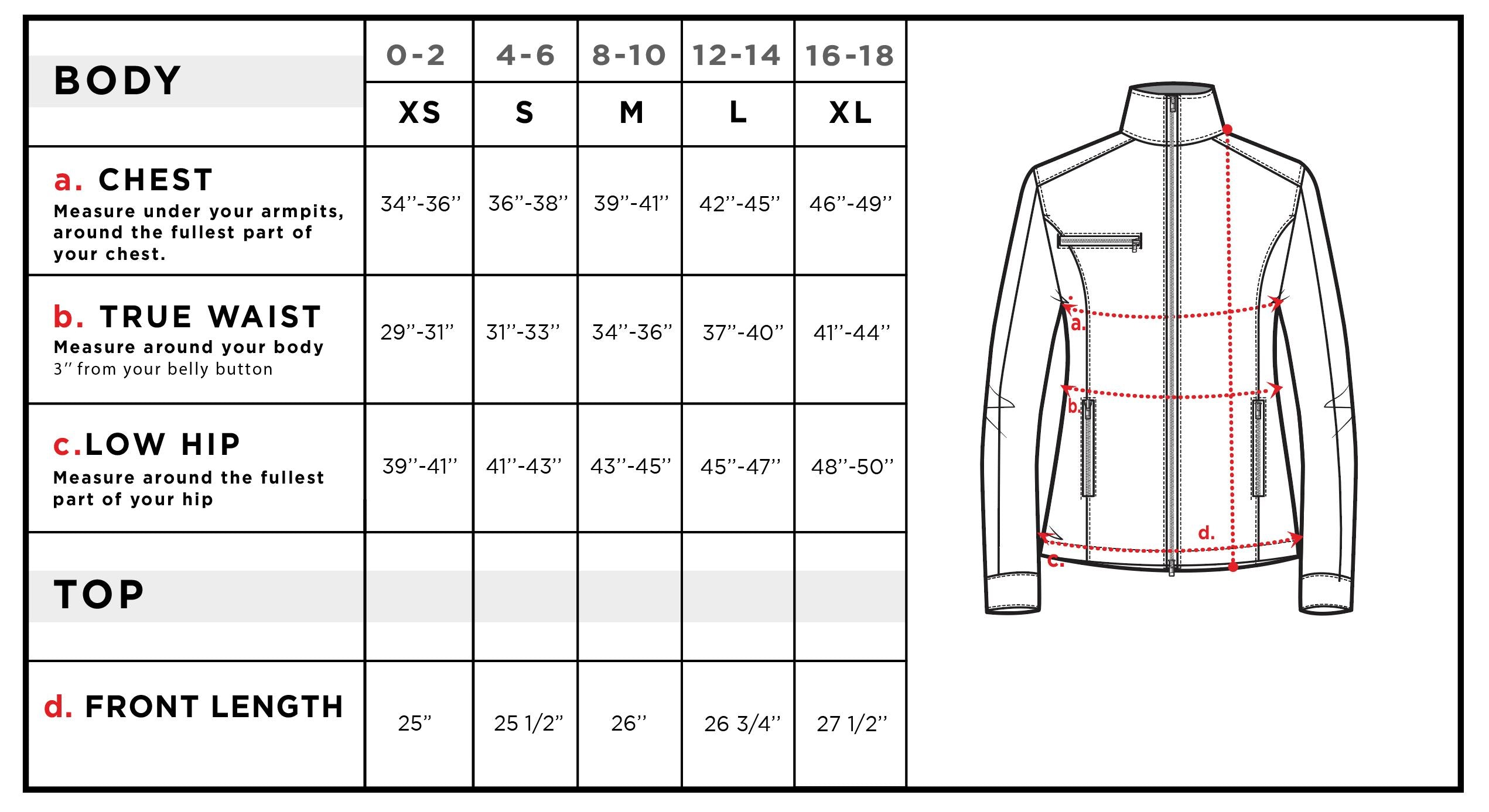 Justine Side-Stripe Racer Jacket Size Chart