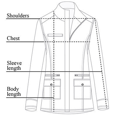 Fall Kenya Safari Jacket Size Chart