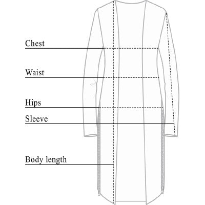 Luciana Wrinkle Free Cardigan with Zips Size Chart