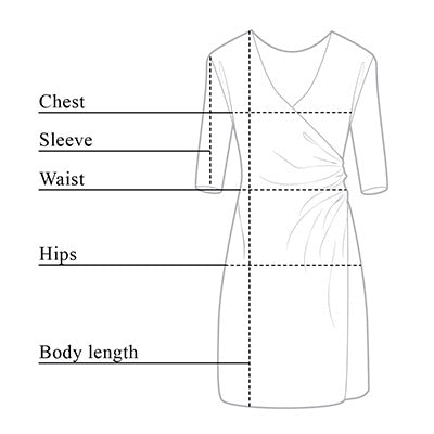 Marine Wrinkle Free Wrap Dress Size Chart
