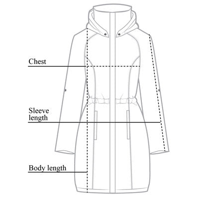 Metallic Travel Merika Windbreaker Size Chart