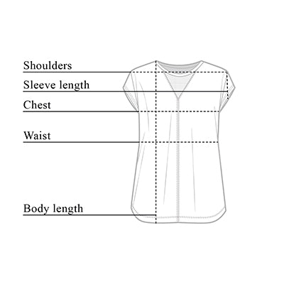 Mia Short-Sleeve Top Size Chart