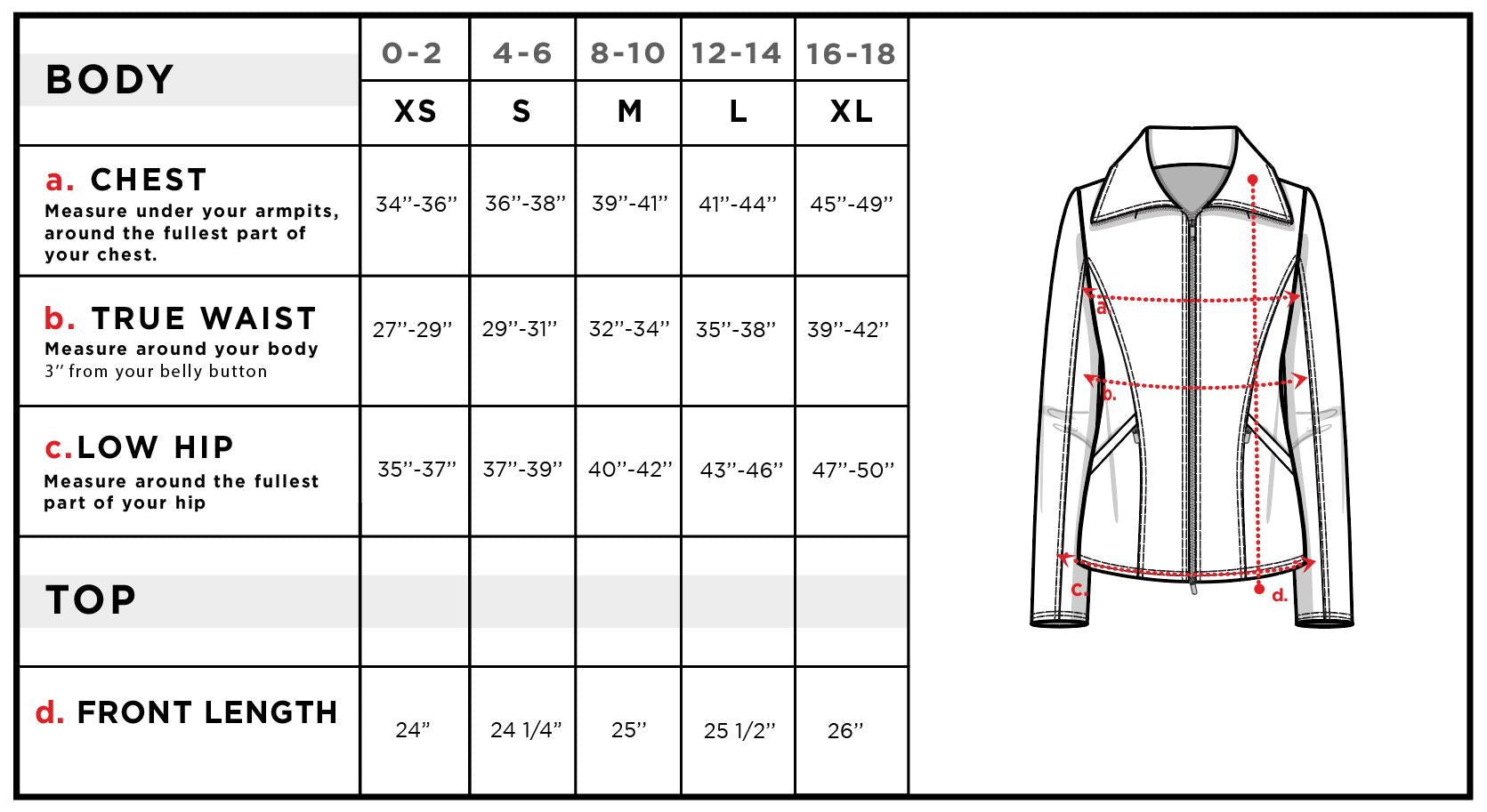 Mojo Ponte Slim Fit Jacket in Python Size Chart
