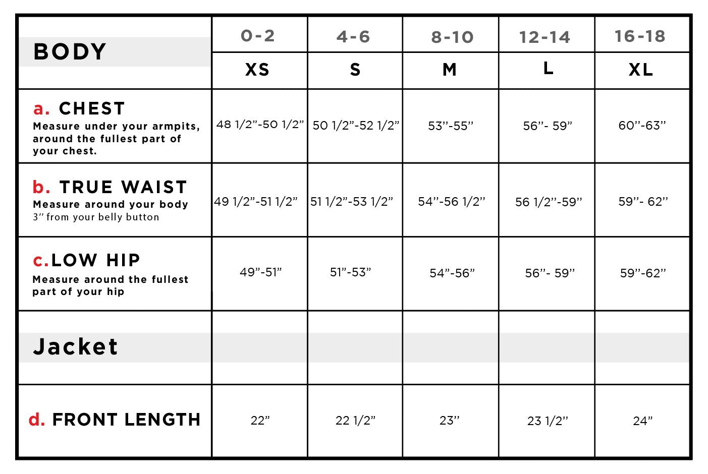 Nani Short Windbreaker Jacket Size Chart