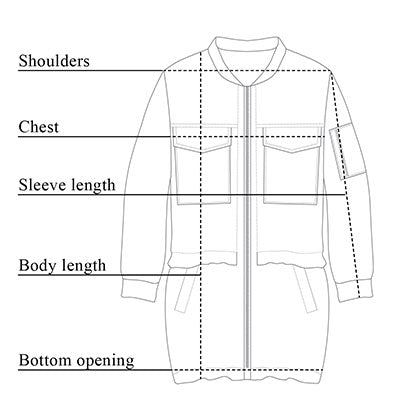 Parker Cotton Twill Bomber Jacket Size Chart