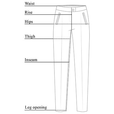 Peggy Curvy Zippered Pants Size Chart