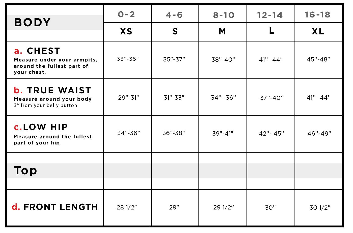 Tossin Ruched Tank Top Size Chart