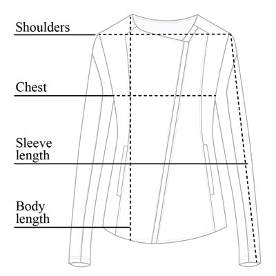 Adelia Mesh Leather Jacket Size Chart