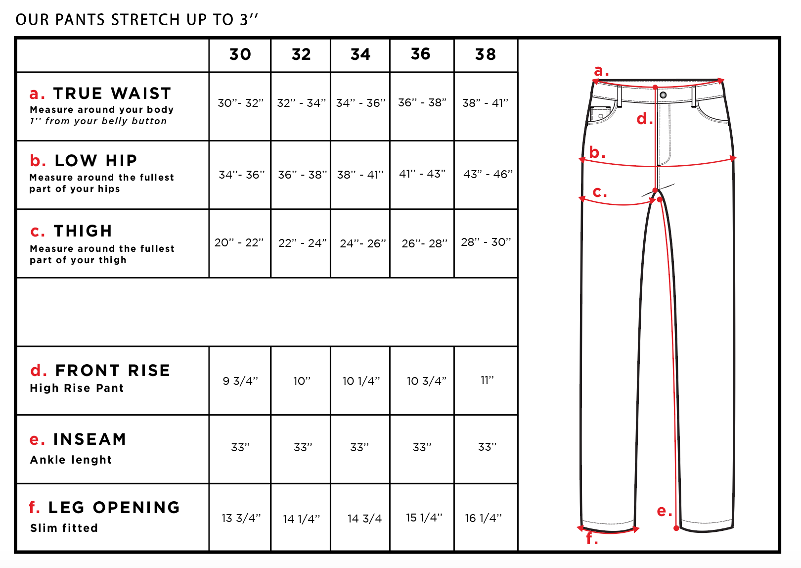 Alessio Men's Travel Pant Size Chart