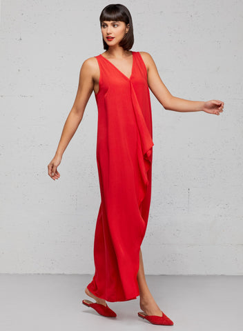 V-neck maxi dress in red with cascading ruffle detail