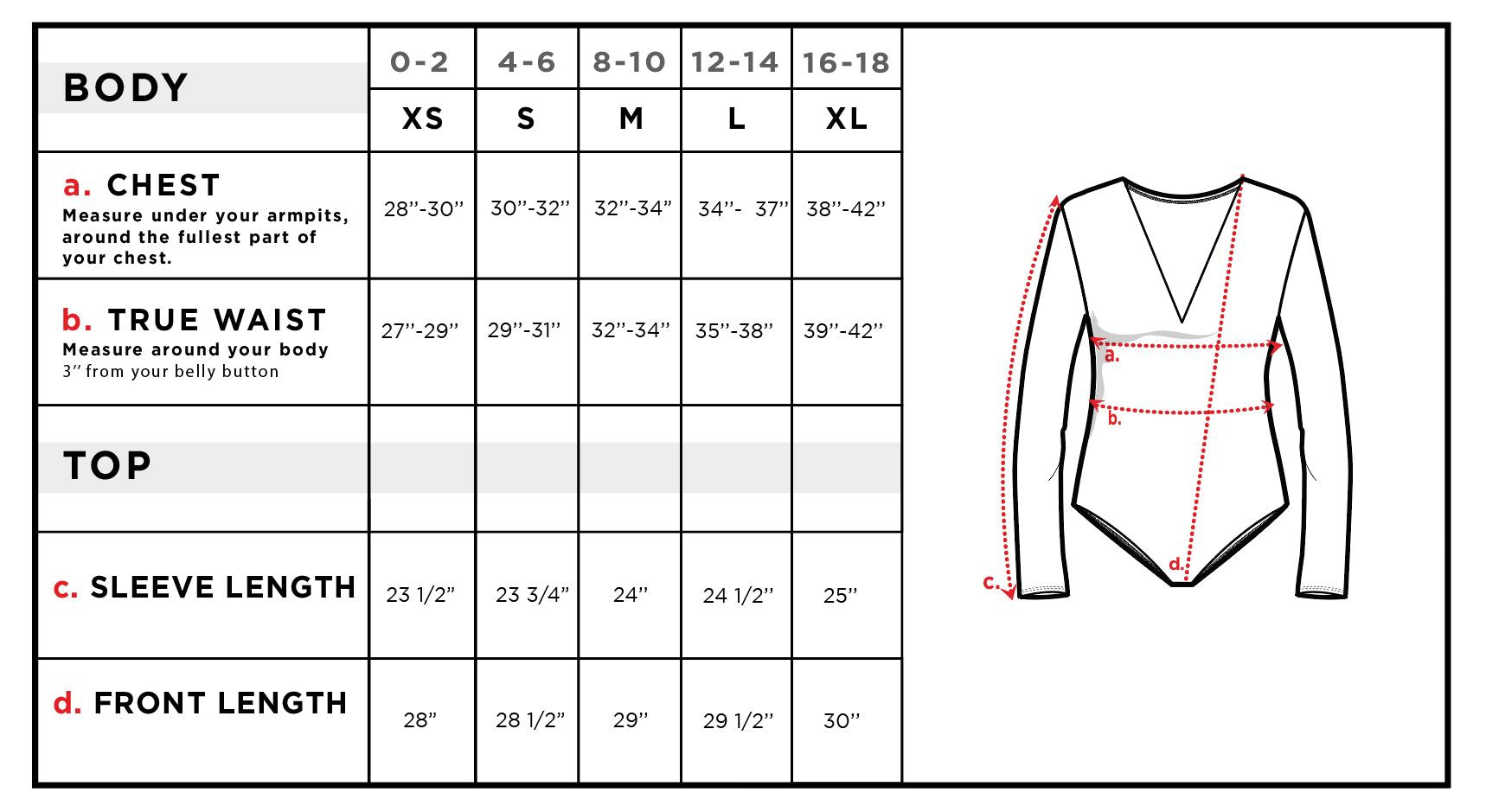 Becky Long Sleeve V-Neck Bodysuit Size Chart