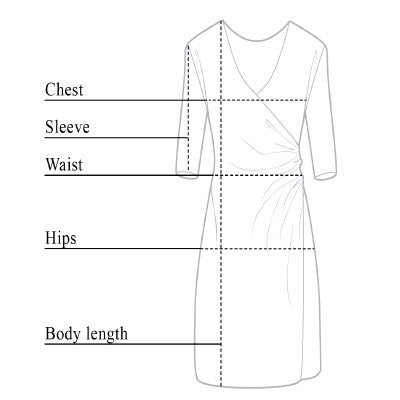 Marine Velvet Travel Dress Size Chart