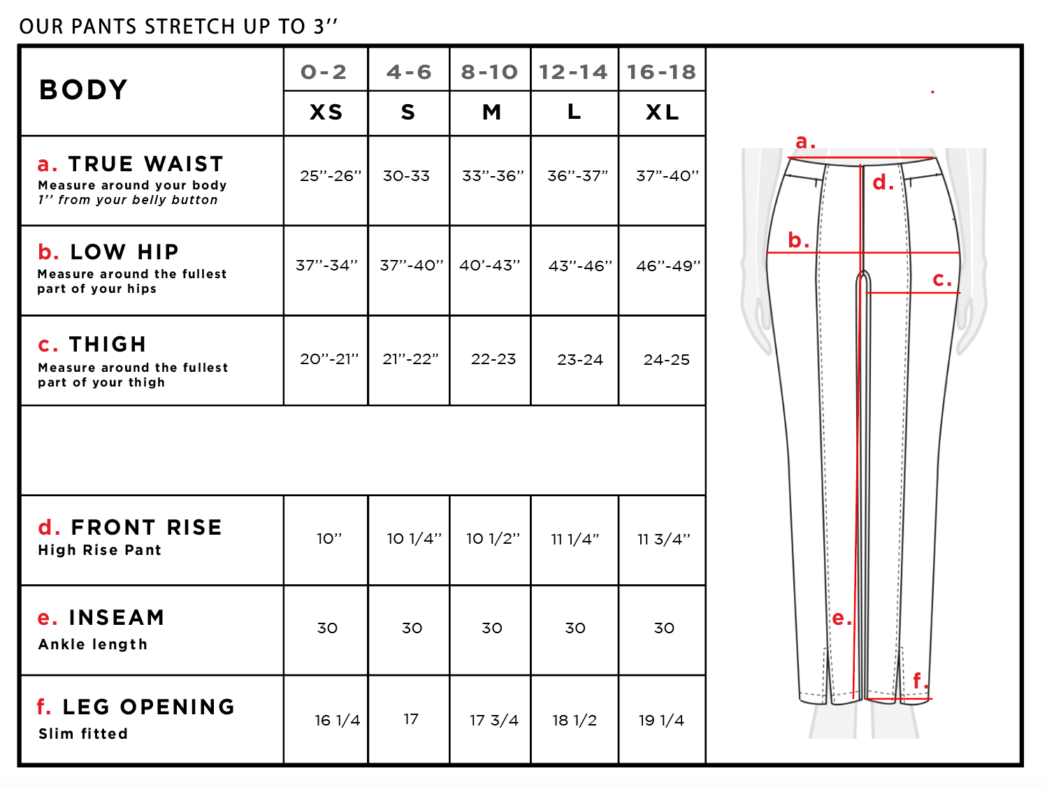 Vickie Straight Leg Ankle Slit Pant Size Chart