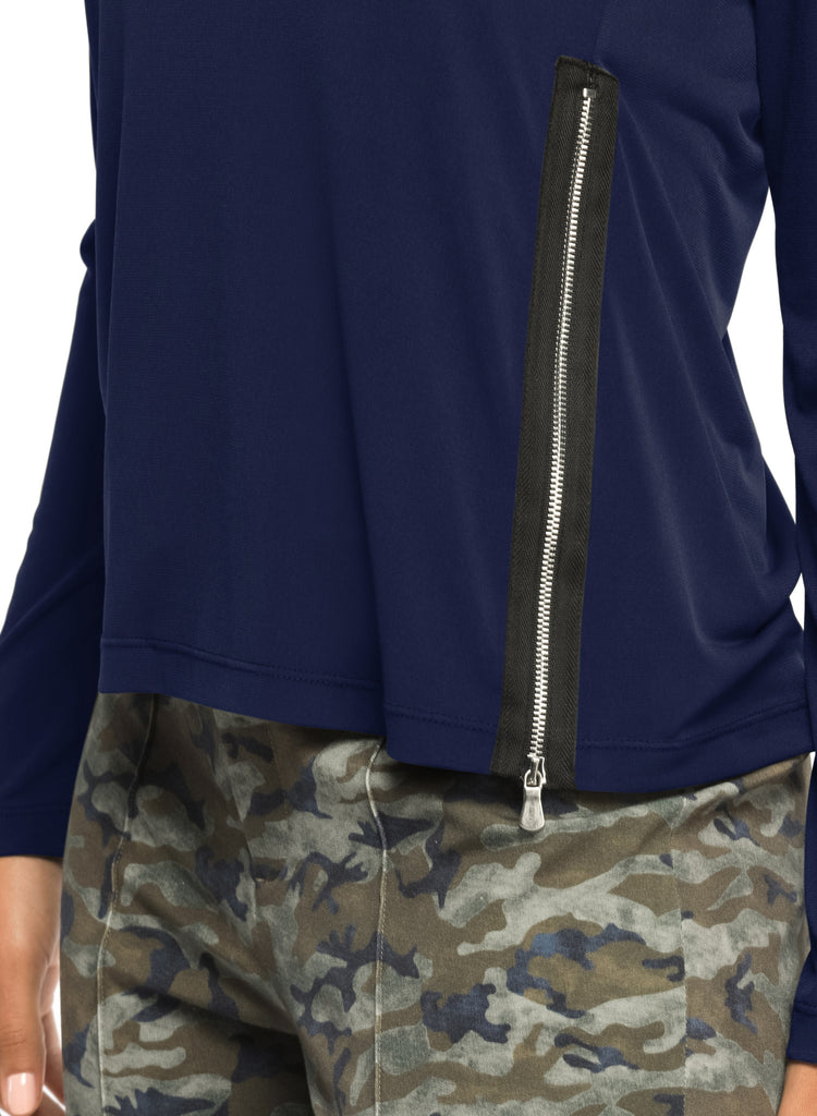 Megan Zip Crewneck Top