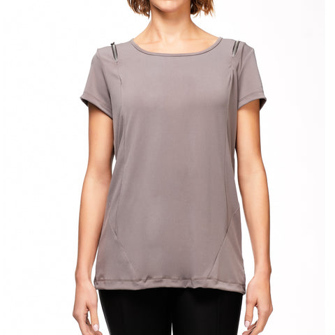 Zoey Zip Tee - Taupe / XS