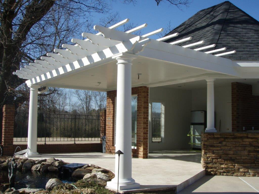Arbors Direct Fiberglass Round Tapered Column Pergola- Attached to ...