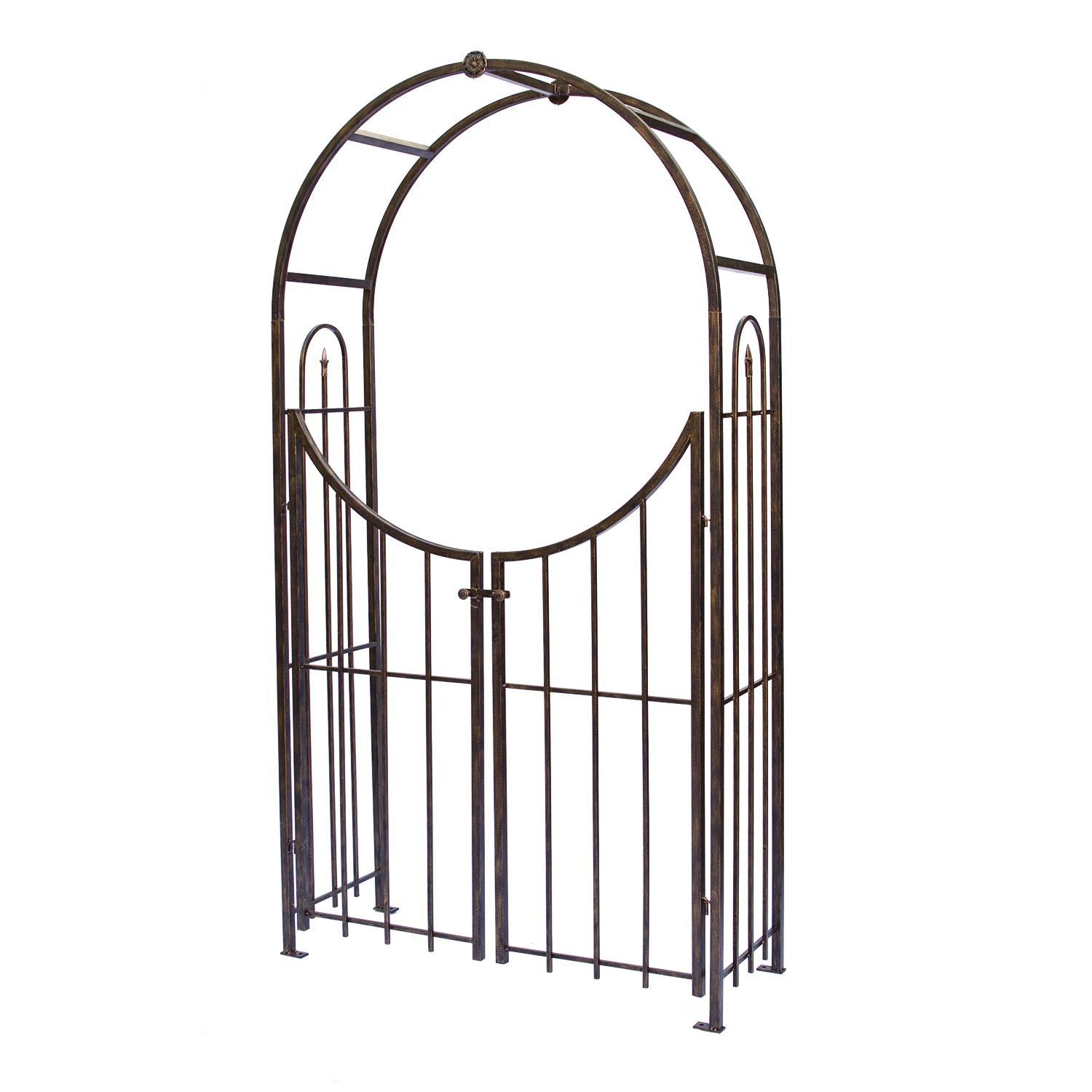 Panacea Arch Topped Garden Arbor With Gate Brushed Bronze