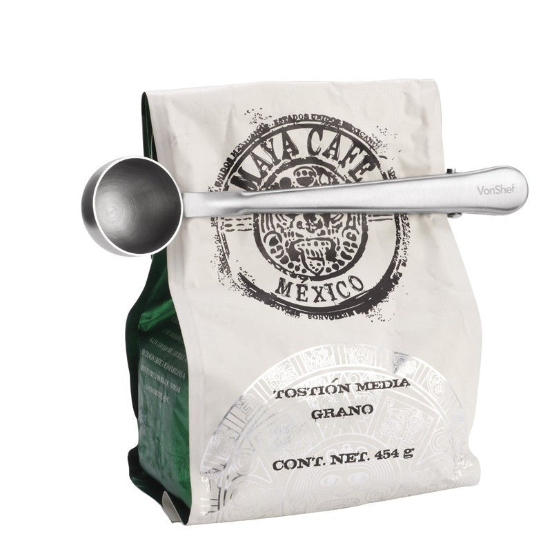 Stainless Steel Coffee Scoop & Clip