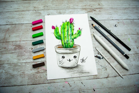 cute and cartoonish blooming cactus in a white pot with a character face