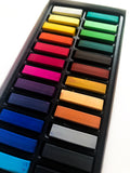 soft chalk pastels showing a rainbow array of vibrant colors