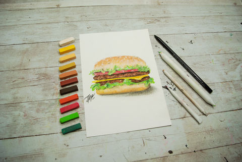 realistic drawing of a cheeseburger made with soft chalk pastels