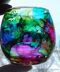 alcohol ink on glass