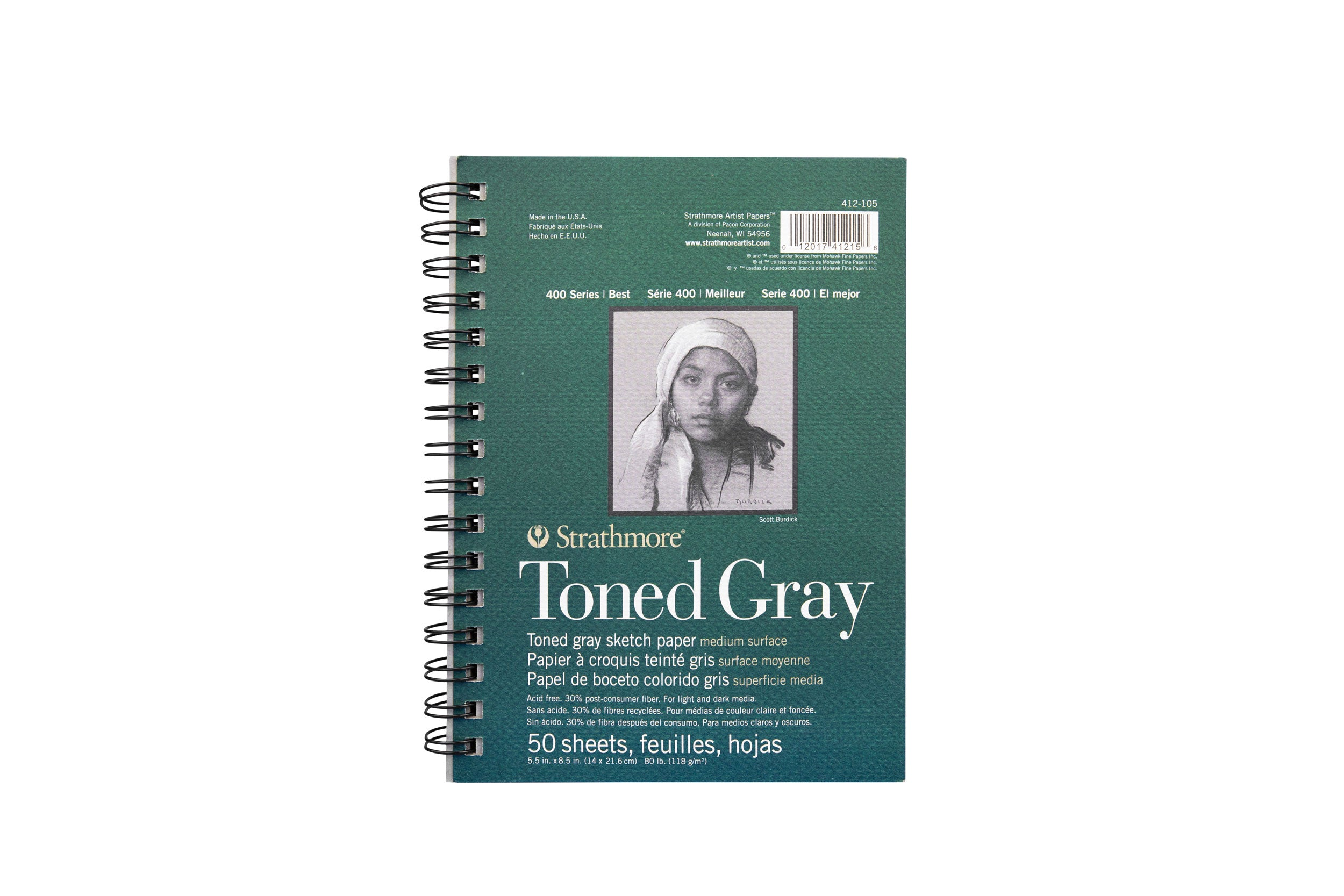 "STRATHMORE TONED GRAY SKETCH PAD 5.5"" X 8.5"""