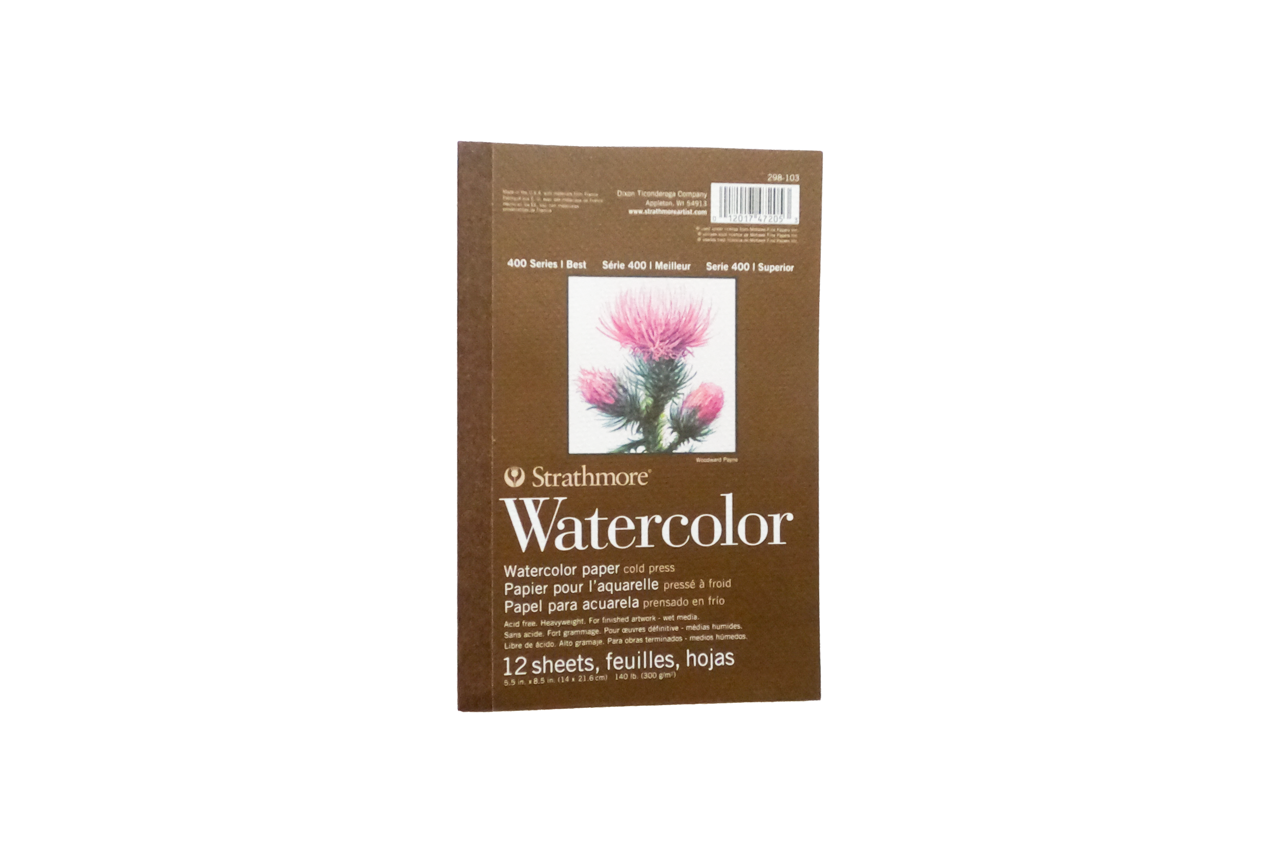 """STRATHMORE WATERCOLOR 400 SERIES,  TAPE-BOUND PAD 5.5"""" X 8.5"""""""