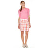 Helios women's golf polo shirt, to-the-elbow sleeves with notched cuffs in pink.
