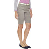 "5 Summer Stories 11"" Bermuda-length women's golf shorts in grey snakeskin jacquard stretch fabric with two side seam pockets."