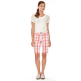 "Desert Rose women's golf shorts, 11"" Bermuda-length in pink plaid stretch fabric with two side seam pockets."