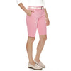"Sweet Thing women's golf shorts, 11"" Bermuda length in pink stretch fabric with two side seam pockets."