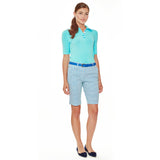 Pacific Coast Highway women's golf polo with to-the-elbow sleeves, five-button placket in a contrasting color and aqua buttons.
