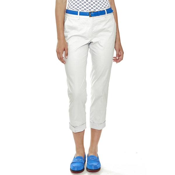 Ocean Breeze women's golf pants, cropped with cuffed hem and pockets in front and back, in grey.