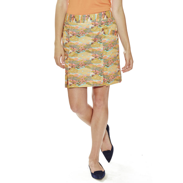 "California Soul women's golf Skort, pleated, 18.5"" length in Liberty of London print."