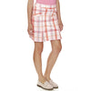 "Newport News women's golf Skort pleated 18.5"" length in pink plaid fabric with pockets in front and back."