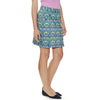 "Sun On The Moon women's golf Skort pleated 18.5"" length in William Morris Print for Liberty of London fabric with two diagonal pockets in front and two in back."