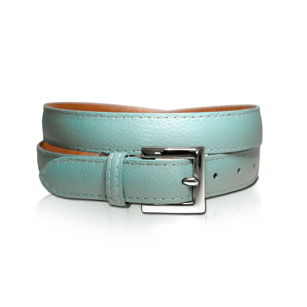 Aqua Leather Belt is 100% genuine leather imported from Italy.