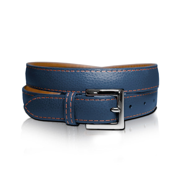 Navy with Orange Leather Belt
